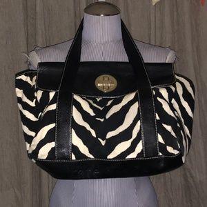 Kate Spade Black White Zebra striped large bag